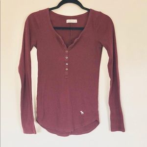 Abercrombie & Fitch Maroon Long Sleeve Button Top
